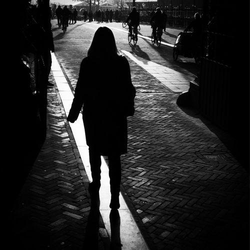Walking the line ... Street EyeEm Best Shots - Black + White Black And White Blackandwhite Streetphoto_bw Monochrome Street Photography Streetphotography Amsterdam