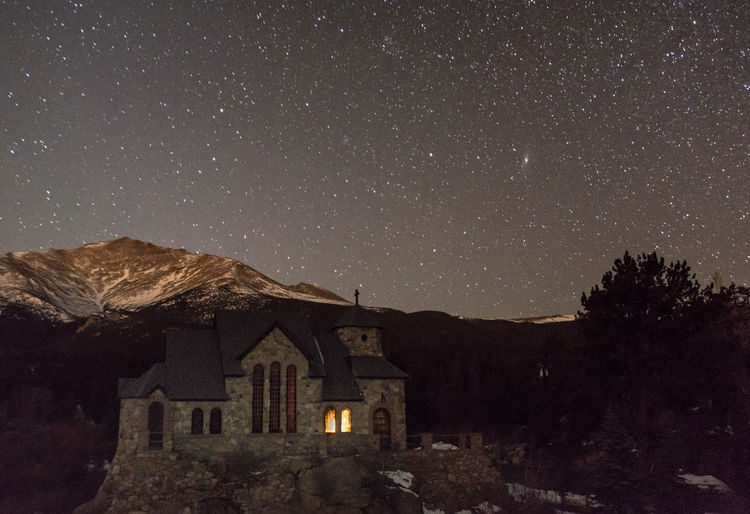 St. Catherine Chapel and Mt. Meeker, Starry Night Architecture Astrophotography Building Exterior Built Structure Chapel Christianity Church Clear Sky Colorado Cross Mt. Meeker Night Nightphotography Outdoors Place Of Worship Religion Rock Rocky Mountain National Park St. Catherine Stars Stone Winter Mountain Landscape The Great Outdoors - 2016 EyeEm Awards