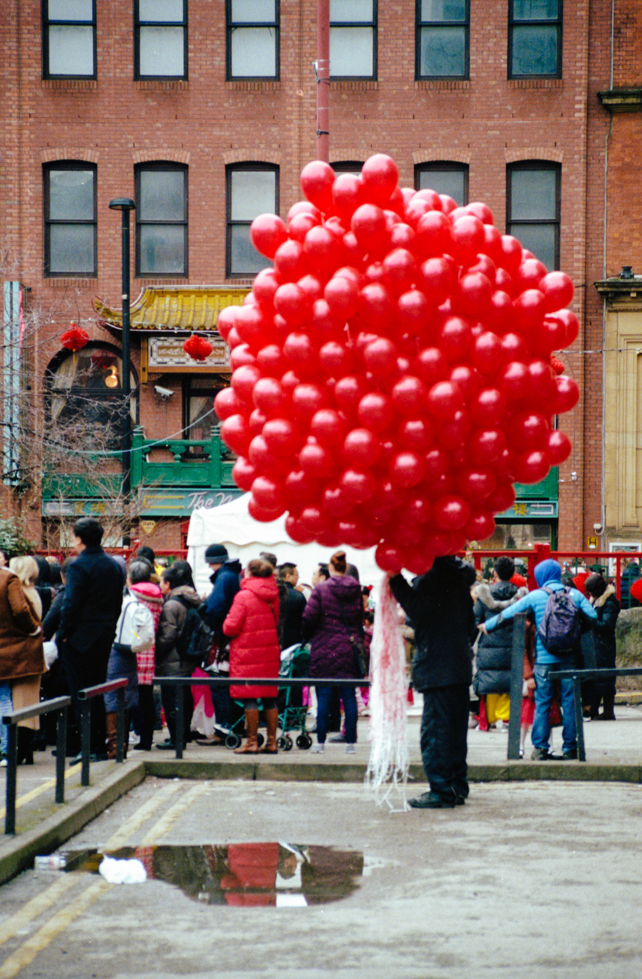 red, building exterior, architecture, balloon, built structure