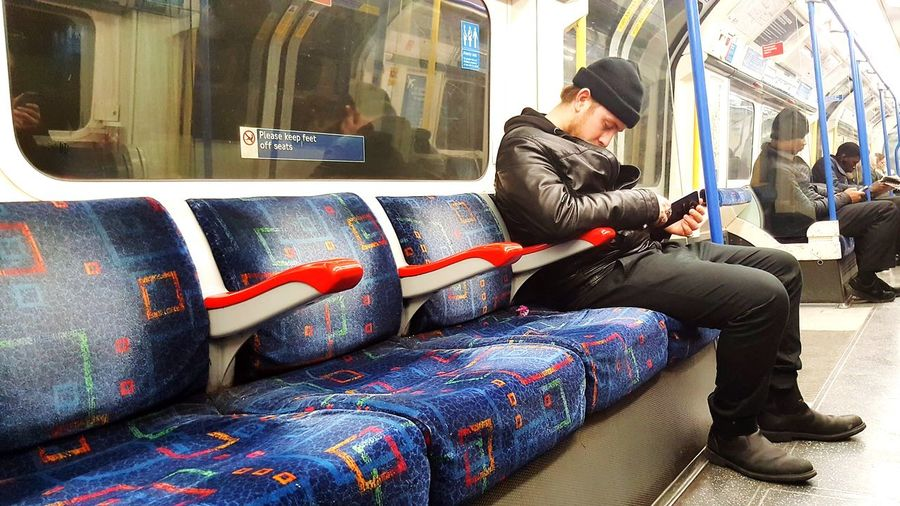 Tube Tube Carriage Sleeping Tiered Sitting One Person One Man Only Full Length People Only Men Adults Only Adult Men One Young Man Only Young Adult Wireless Technology Subway Train