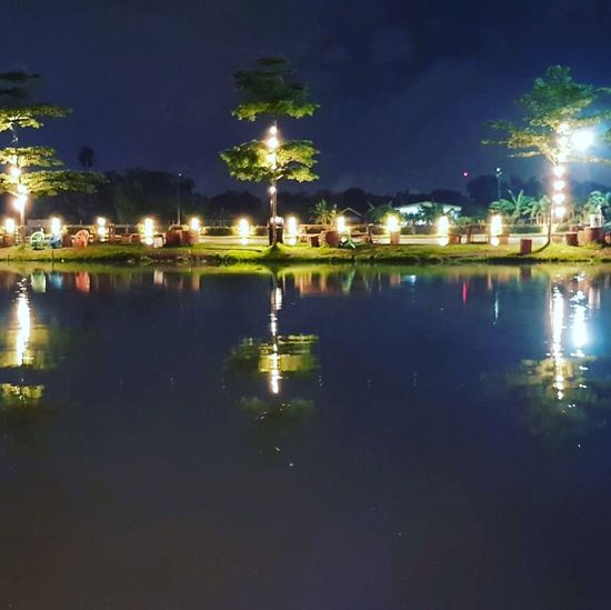 Water Reflection Night Illuminated Waterfront Building Exterior No People