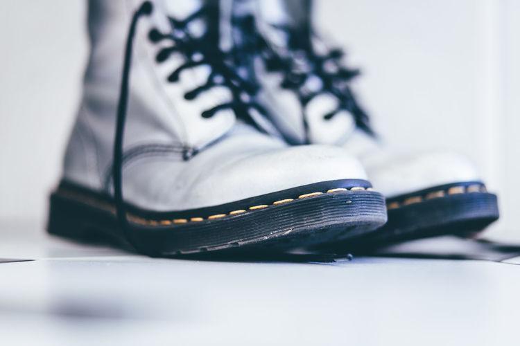 Close-up Doc Martens Dr Martens Dr Martens Boots Indoors  Kultobjekt No People Schuhladen Shoe Silver Shoes Walking