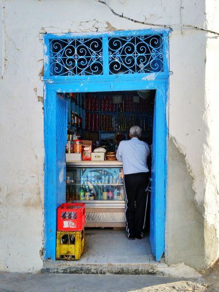 Building Exterior Shopping Mall Tante Emma Laden Supermarket Djerbahood Djerba, Tunisia Djerbahood Djerba  Djerba Explore Djerba, Tunisia Djerba Door Djerba_ Tunisie Grocery Shopping Blue One Man Only Only Men One Person Oldtown Art Is Everywhere