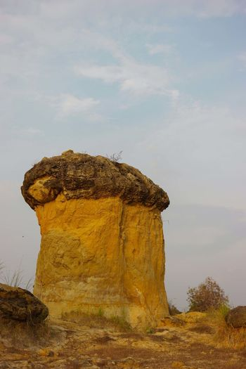 Low angle view of mushroom-shaped rock formations