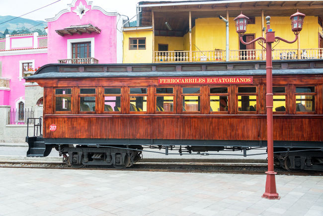 Alausi Andes Carriage Ecuador Infrastructure Locomotive Mountain Rail Railroad Railroad Car Railway Riobamba South America Station Track Train Train Station Train Tracks Trains