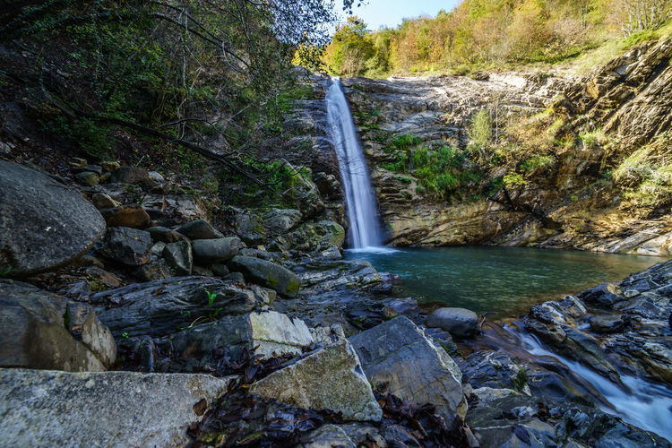 Tree Plant Water Beauty In Nature Scenics - Nature Nature No People Rock Flowing Water Outdoors Cascata Del Golfarone Villa Minozzo Waterfall Lake Landscape Wideangle Forset Long Exposure Forest Land Power In Nature