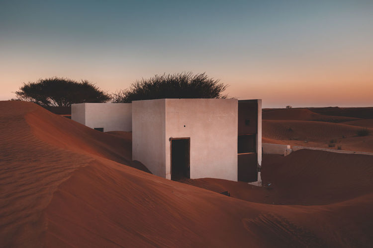 Scenic view of abandoned buildings in the desert