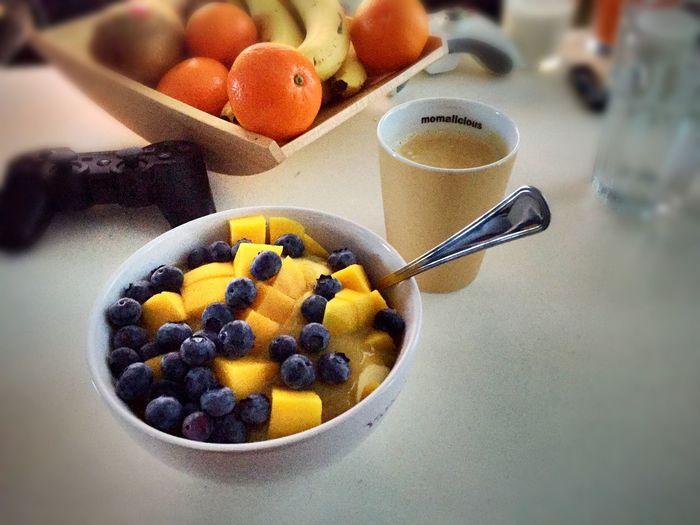 ... bowl full of vitamins, all the good stuff + coffee! ? ... Mango Blueberries Rhubarb Curd Cheese Banana Coffee Yummy