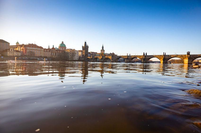 Architecture Charles Bridge Czech Republic Morning Prague Reflection Vltava River Europe Water