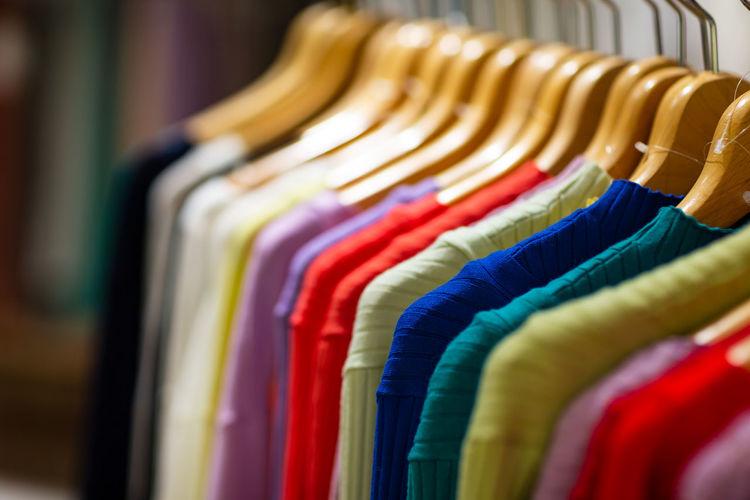 Multi colored clothes in store