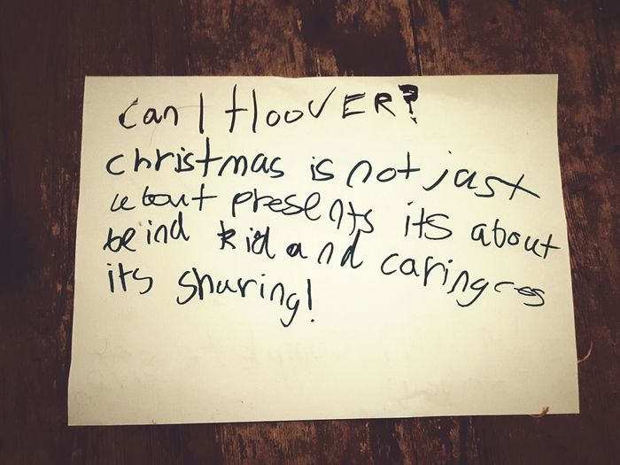 This Is Christmas day 14. Paper Message Handwriting  Text Not Just About Presents Kind Caring Sharing  Kids Being Kids