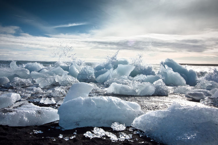 Backgrounds Beauty In Nature Iceland Clouds Cold Temperature Day Environment Jökulsárlón Jökulsárlón Glaciar Lagoon Freshness Frozen Glacier Ice Island Melting Nature No People Outdoors Sea Sky Snow Summer Sunbeam Water Wave