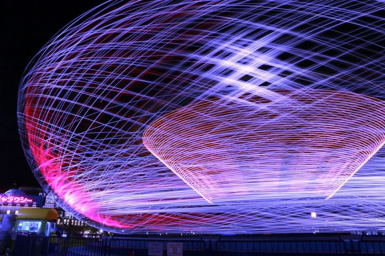 Overnight Success In Front Of Illuminated Low Angle View Close-up Pattern Modern Sky Decoration Geometric Shape Glowing Pink Color Circle (null)Blue Electric Light Man Made Object Red