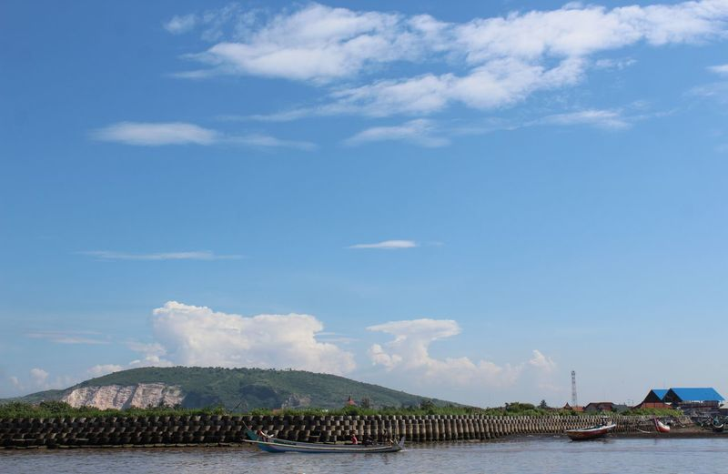 Scenic View Of Bay Against Blue Sky