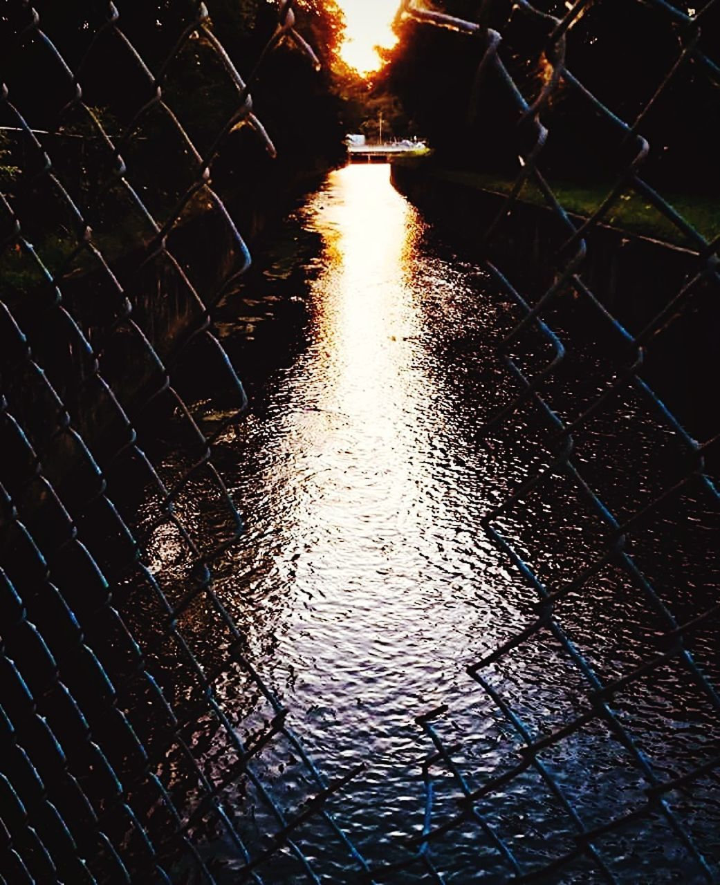 illuminated, night, no people, architecture, the way forward, nature, direction, city, street, pattern, fence, footpath, wet, water, chainlink fence, diminishing perspective, outdoors, cobblestone, built structure, rain, light
