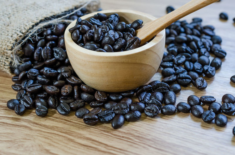 Black Peppercorn Bowl Close-up Coffee Bean Day Food Food And Drink Freshness Healthy Eating High Angle View Indoors  No People Roasted Coffee Bean Table Wood - Material