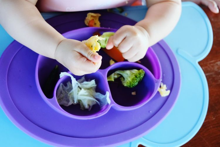 BLW Baby Baby Led Weaning Blw Kid Eating Hand Food Vedgetables Omelet Human Hand Plate Fruit Vegetable Savory Food High Angle View Food And Drink