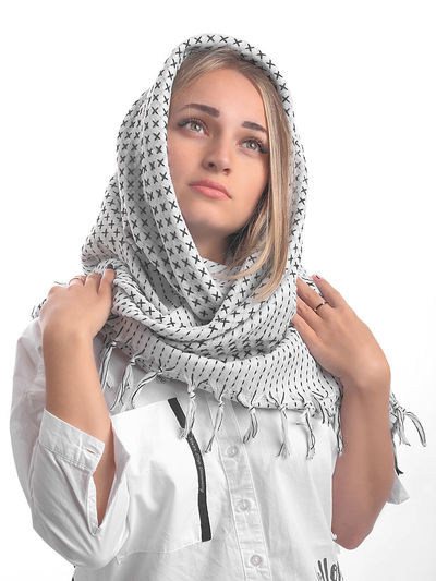 young woman's portrait in shemagh scarf Portrait Portrait Of A Woman Shemagh Scarf Pixelated Portrait White Background Beauty Futuristic Young Women Headshot Studio Shot Cyberspace Beautiful People My Best Photo International Women's Day 2019 The Portraitist - 2019 EyeEm Awards