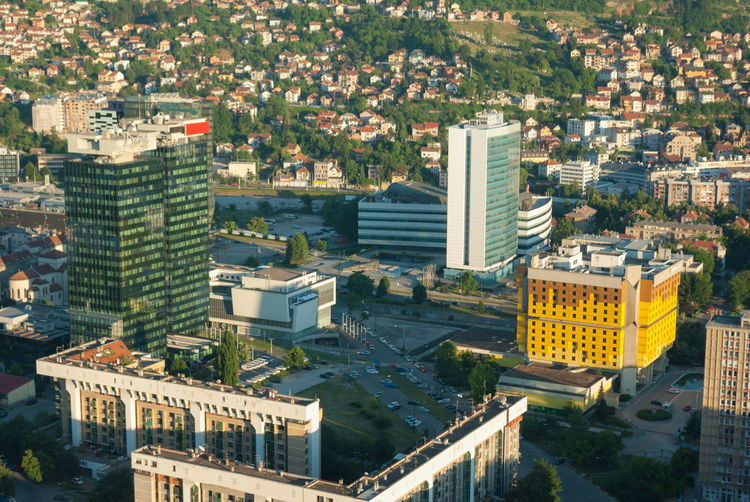 Amazing panorama view on Sarajevo city from the tower birds view Aerial View Apartment Architecture Building Building Exterior Built Structure City City Life Cityscape Day High Angle View Nature No People Office Building Exterior Outdoors Plant Residential District Skyscraper Transportation Travel Destinations Tree