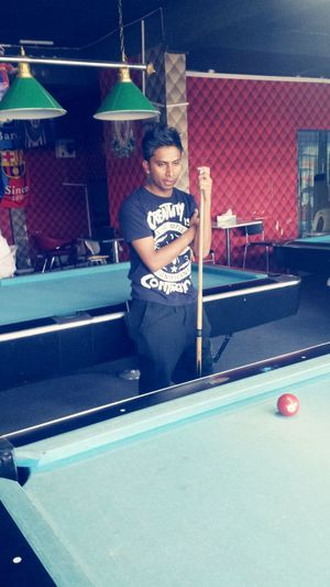Aftet long time played pool game feeling relaxed
