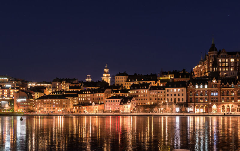 Stockholm at Night Cityscape Frozen Lake Architecture Illuminated Night No People Outdoors Reflection Water Waterfront