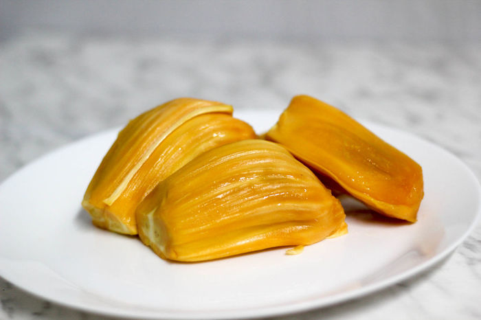 Jackfruits on a white plate Close-up Day Food Food And Drink Freshness Healthy Eating Indoors  Jackfruit No People Plate Ready-to-eat Yellow