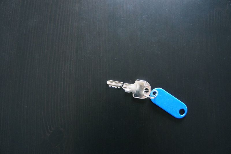 High angle view of key ring on table