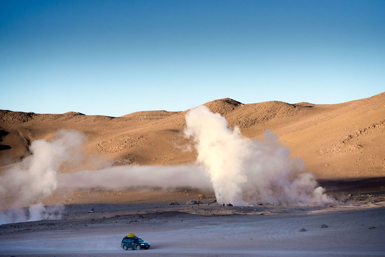 View of geyser in bolivia