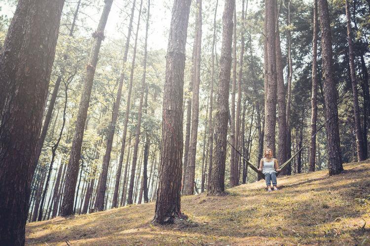 Woman sitting on hammock in forest