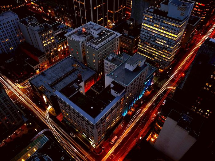 Aerial view of vancouver lit up at night