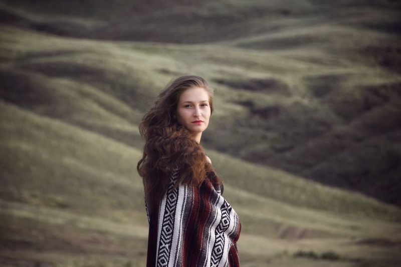 EyeEm Selects One Person Young Adult Beauty Portrait Hairstyle Beautiful Woman Looking At Camera Focus On Foreground Brown Hair Young Women Long Hair Real People Hair Waist Up Lifestyles Standing Contemplation Women Casual Clothing Outdoors