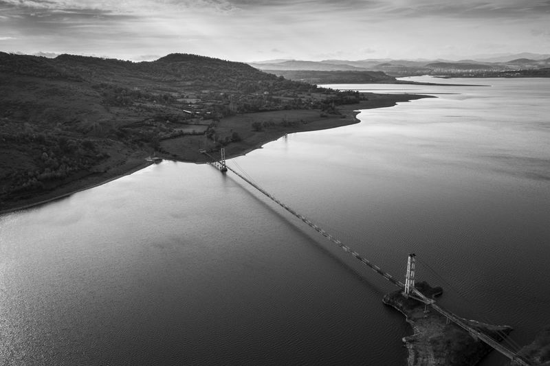 Bridge Nature Drone  Landscape Aerial View Outdoors View Scenery Point Of View Transportation High Angle View Water Beauty In Nature Bridge Diagonal Damaged Bulgaria Monochrome Blackandwhite
