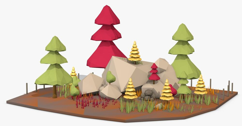 3d Model 3d Rendering 3d Renders Graphic Low Poly Art And Craft Close-up Day Forest Graphic Design Illustration Indoors  Low Poly Art Multi Colored No People White Background