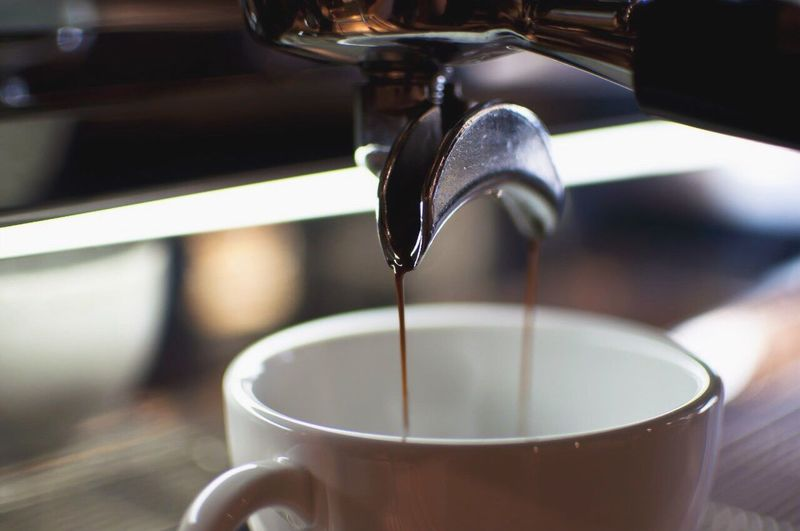 Pouring Drink Food And Drink Coffee Cup Coffee - Drink Motion Close-up Making Refreshment Cup Machinery Freshness Espresso Indoors  Milk No People Day