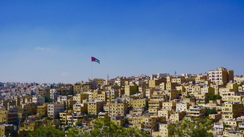 Amman Architecture Building Exterior City Cityscape Clear Sky Day Flag Jordan Jordan Middle East Middle East No People Outdoors Sky