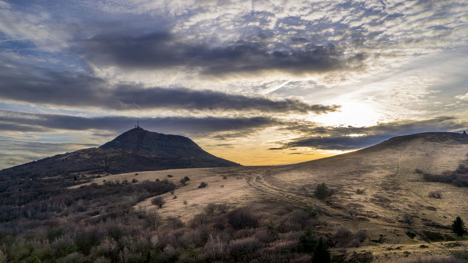 Volcanoes, Auvergne, France Auvergne Dramatic Sky Massif Central Puy De Dôme Puy-de-Dome Volcanoes Beauty In Nature Landscape Mountain Scenics Sky Sunset Tranquil Scene Tranquility Volcano