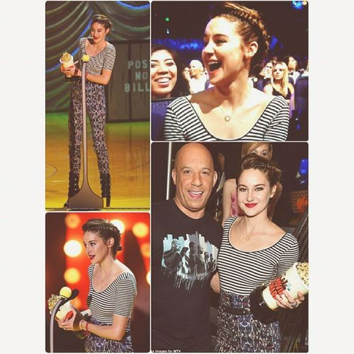 Shailene Woodley won big at the 2015 MTV Movie Awards • Trailblazer • Best Female Performance • Best Kiss (shared with @anselelgort ) • Movie of the Year (shared with the director,@johngreenwritesbooks & crew of TFiOS) 💚💛💜💙👍👍 ShaileneWoodley Mtv Movieawards  Mylove TheFaultInOurStars VinDiesel