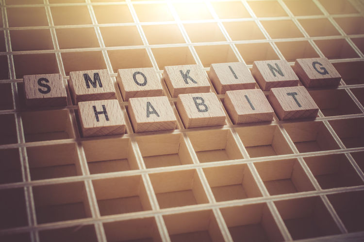 Macro Of The Words Smoking Habit Formed By Wooden Blocks In A Type Case Blocks Cancer Cancle Drugs Smoking Text Tobacco Typecase Wall Addiction Background Board Case Change Cigar Cigarette  Habit Healthy Lifestyle Macro Message Quit Reminder Weed Wooden Words