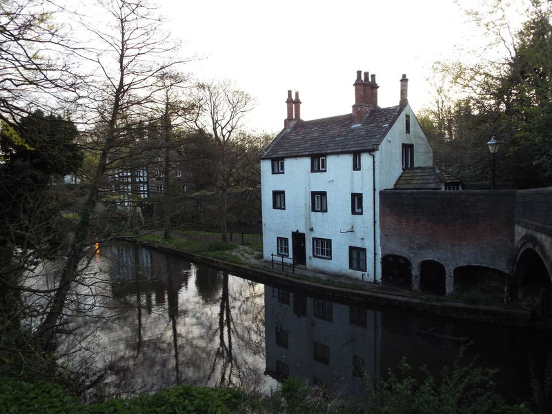 The Packet House is hiding behind the trees White House Chimney Canal Canals And Waterways BridgeWater Canal Water Water Reflections British Waterways Bridge Trees The Packet House