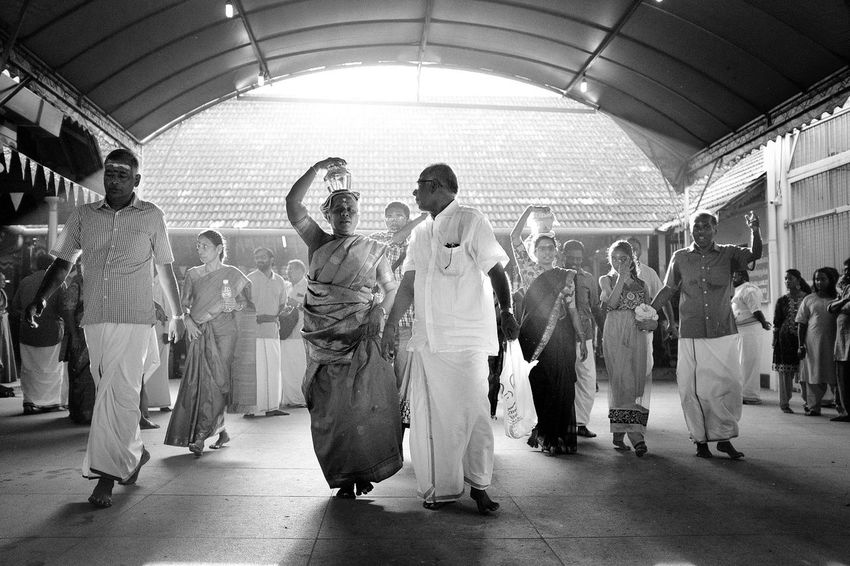 Praying Blackandwhite EyeEmNewHere Streetphotography Documentary Georgetown Penang Malaysia Culture And Tradition Cultures Belief Fujifilm X100f Fujifilm Thaipusam Indoors  Full Length People Large Group Of People Adult Dance Floor Real People Day