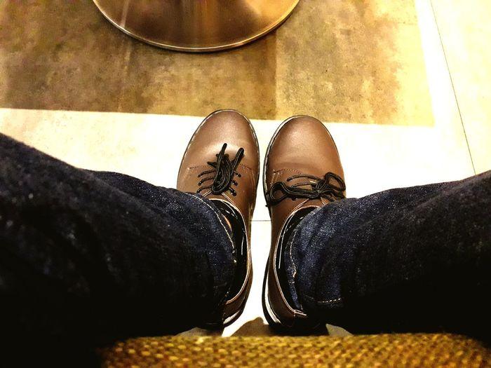 Low Section Men Human Leg Standing Shoe High Angle View Leg Human Foot Limb Close-up