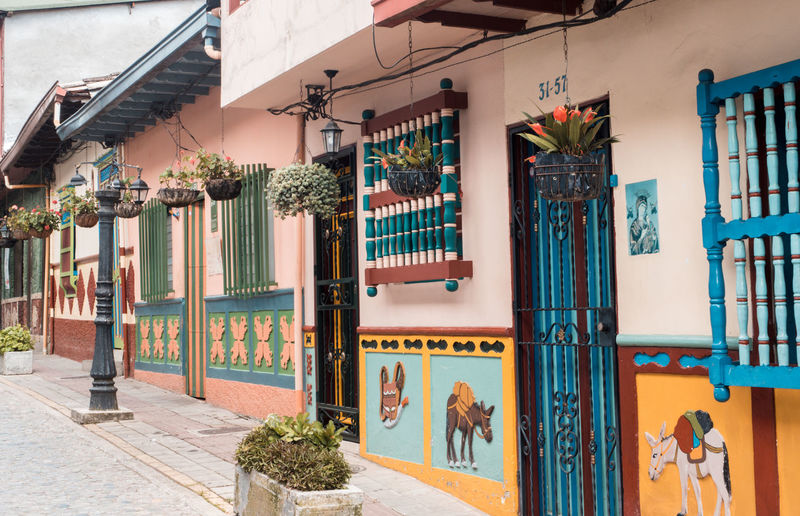 The colours of Colombia Bright Colombia Colours Road Arch Architecture Building Building Exterior Buildings Built Structure City Day Flowers Nature Outdoors Pretty Residential District Window