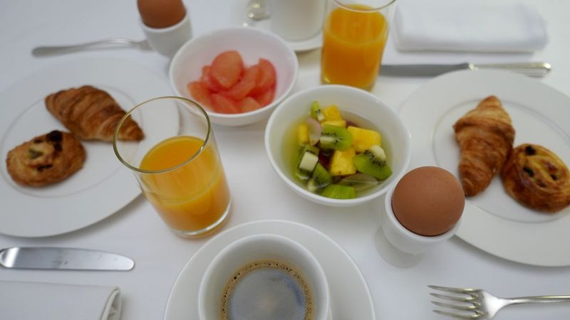 Table set with French breakfast for two persons. Breakfast Food Porn Awards Croissants Having Breakfast Morning At The Hotel Restaurant Time For Breakfast  France At Table