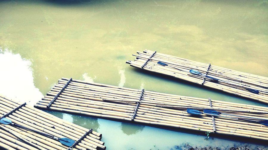 Bamboo raft in