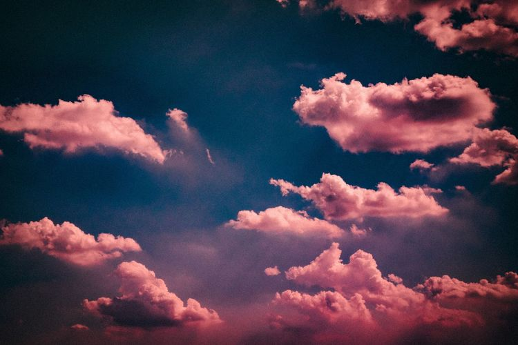 Sky Beauty In Nature Cloud - Sky Scenics - Nature Tranquil Scene Tranquility Low Angle View Nature No People Pink Color Outdoors Majestic Backgrounds Idyllic Full Frame Cloudscape Blue Dramatic Sky Infinity Day