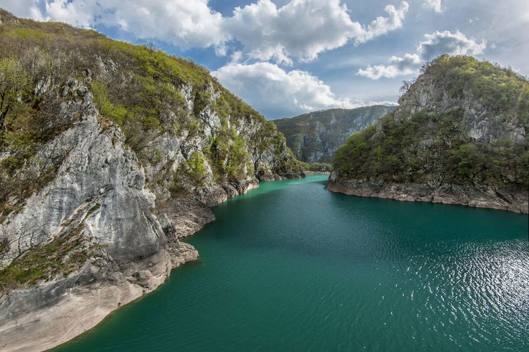 Balkans Water Beauty In Nature Scenics - Nature Mountain Tranquility Tranquil Scene Rock Cloud - Sky Rock - Object Nature Non-urban Scene Day No People Solid Idyllic Sky Land Rock Formation Mountain Range Outdoors Turquoise Colored Formation Montenegro Balkans
