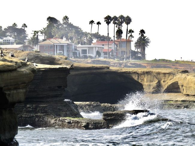 San Diego California Coast California Love California USA California Water Motion Splashing Waterfront Power In Nature Rock - Object No People Tree Outdoors Sea Day Travel Destinations Wave Waterfall Architecture Nature Building Exterior Spraying Beauty In Nature Sky