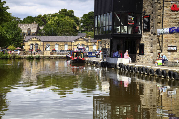 Leeds to Liverpool canal at Skipton north yorkshire Transportation Water Outdoors Leeds To Liverpool Canal Skipton Skipton Canal Boating Barge Barges Yorkshire Uk England Recreation  Relaxation Holiday Towpath Waterway Canal Boat Boats Summer North Yorkshire