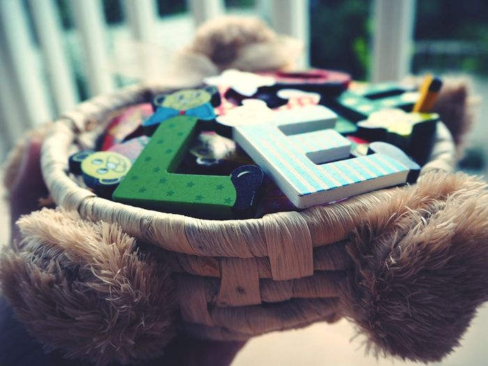 Letters Letter Box Letter L Letter E Wood Toy Wood Pieces Long Angle View Basket Wood Basket Art Is Everywhere EyeEmNewHere Creativity Imagination