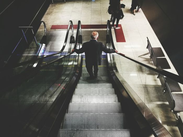 Escalator Convenience Men Motion Steps Steps And Staircases On The Move Transportation Person Modern Narrow The Way Forward Turkey Staircase Walking High Angle View